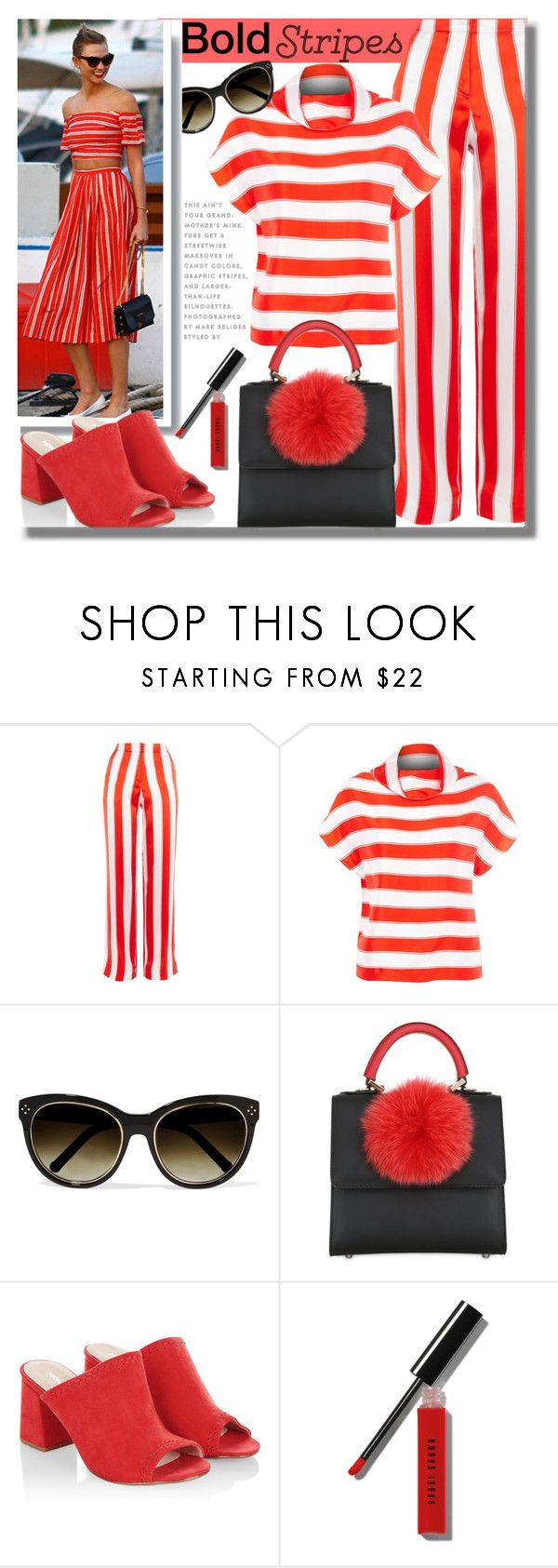 """#333 ~ Strong Stripes: Graphic Striped Pants"" by cresentia-titi ❤ liked on Polyvore featuring Topshop, Chloé, Les Petits Joueurs, Monsoon, Bobbi Brown Cosmetics, stripedpants and 27"
