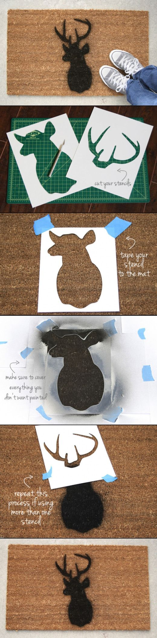 DIY Sillhouette Doormat...this would be so easy and cheap to do...(not the deer, though...at least not for me).