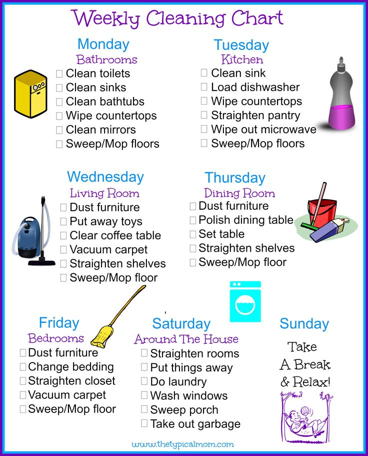 Here is a free printable house cleaning schedule you can use to keep you organized and break chores up daily so it's not so overwhelming!