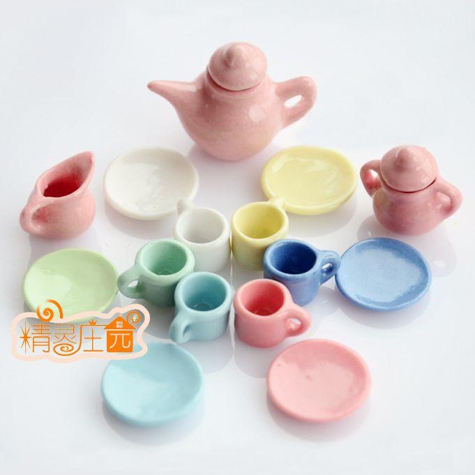 Barato 1:12 boneca casa mesa de porcelana , conjuntos de chá bule de café de louças de porcelana de chá placa Mini, Compro Qualidade Móveis de brinquedo diretamente de fornecedores da China:                    15pcs                                    Jogos de chá em miniatura brinquedo mini Bule Bule de café p