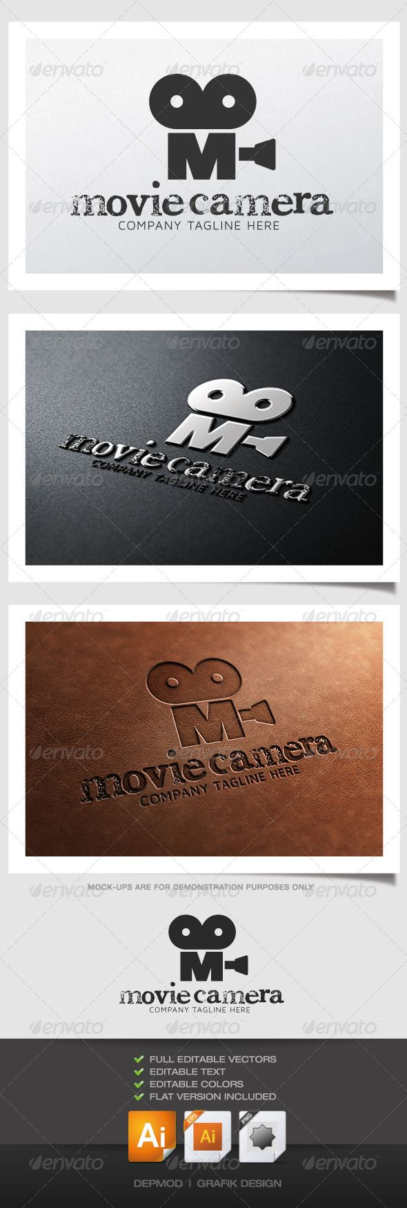 Movie Camera Logo #GraphicRiver Logo of an old movie camera in M shape. Can be used for many kind of project. Full vectors, this logo can be easily resize and colors can be changed to fit your colors project. Flat version for print also included. The font used is in a download file in the package. Font : .fontsquirrel /fonts/maven-pro .fontpalace /font-details/CheltPress+Trial/ Files provided : .ai (CS6 and CS), .eps, .jpg, .png (transparent) Created: 6June13 GraphicsFilesIncluded…