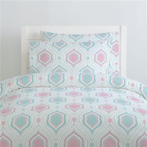 Seafoam Aqua and Pink Moroccan Damask Duvet Cover | Carousel Designs