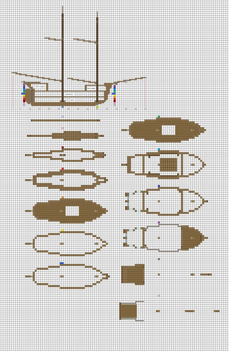 Minecraft sailing brig plans pg1 hull by coltcoyote for Castle blueprints