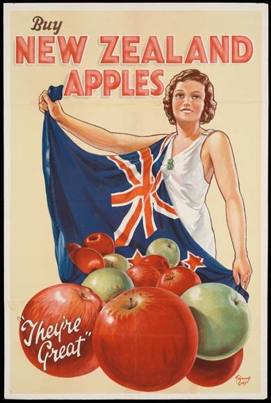 """Buy New Zealand Apples"" Vintage Poster."