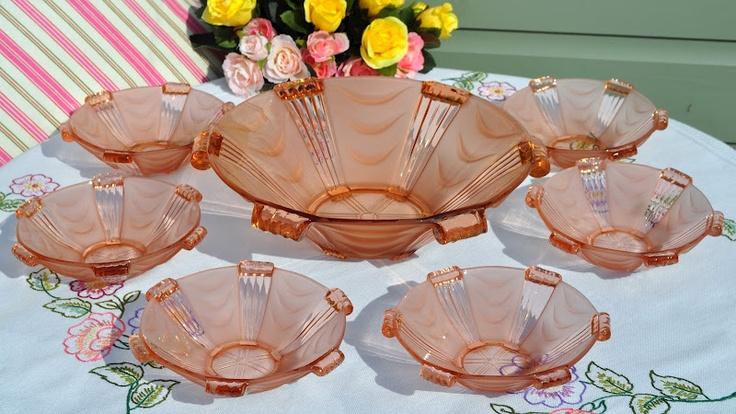 Art Deco Pink Glass Dessert Set for Six