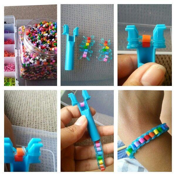 DIY Perler bead rainbow loom bracelet