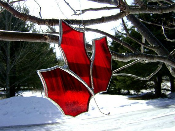 Canadian Maple Leaf Red Stained Glass Canada150 Expats Autumn
