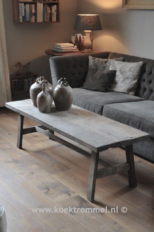 stoere salontafel van oude teakhouten delen
