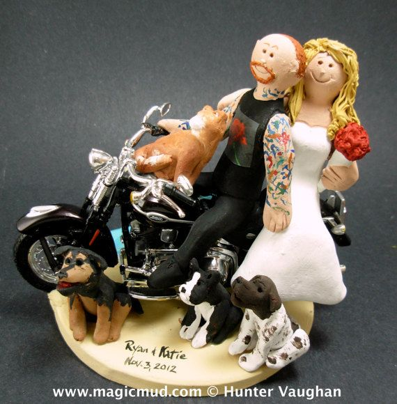Tattooed Biker Wedding Cake Topper    Harley Davidson motorcycle wedding cake topper, custom made just for you. The perfect wedding keepsake for a Harley riding bride and groom.     $250   #magicmud   1 800 231 9814   www.magicmud.com
