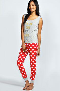 Melissa Naughty List Slogan Pyjama Set at boohoo.com