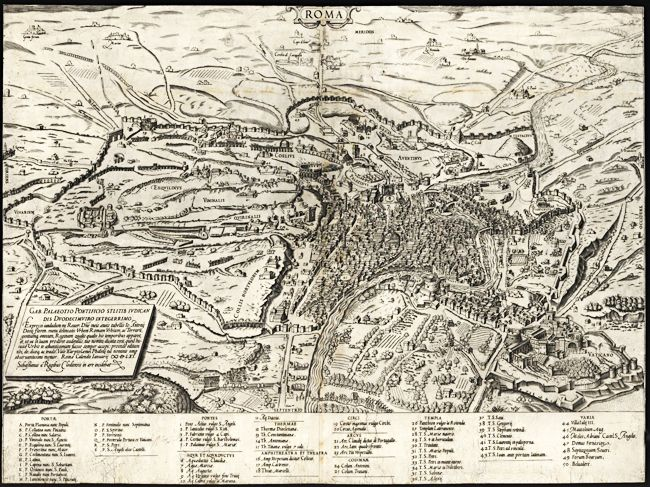 1580 Rome Italy Antique Map, giclee reproduction, unframed or framed with custom sizes in vintage dark burl wood frame. Made in USA by MUSEUM OUTLETS  #italymap  #antiquemap  #wallart  #madeinusa  #rome