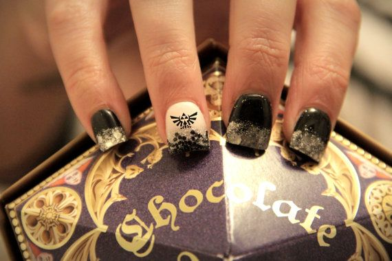20 Zelda Black Twilight Princess Triforce water slide nail decals by JCcustomcreations, $2.00