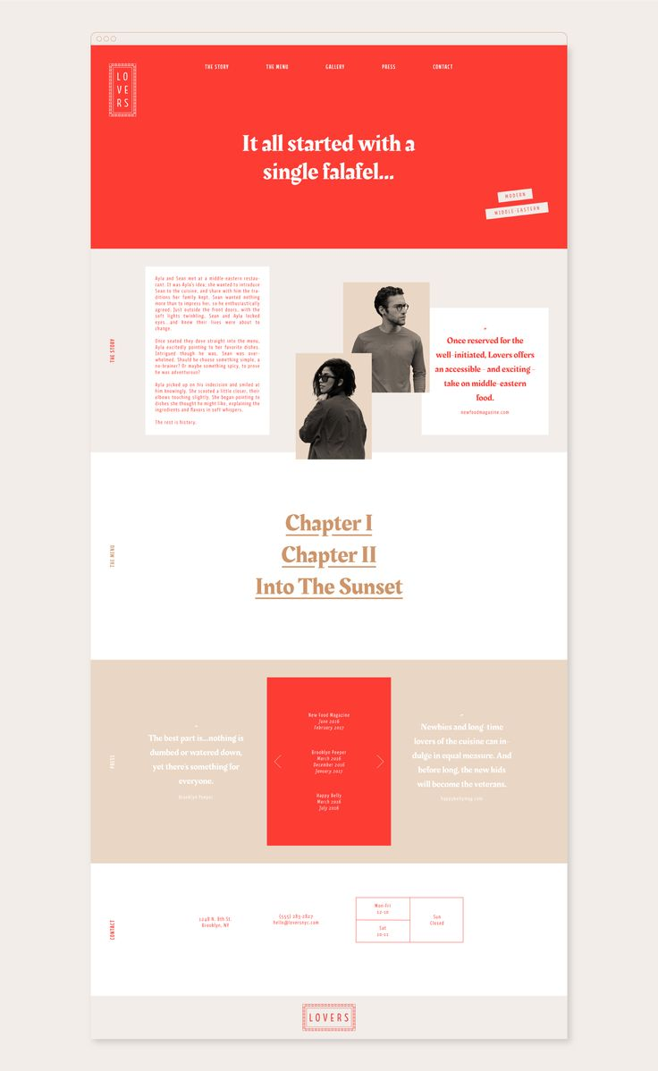 Lovers website by Savanna Hunter-Reeves - bold yet minimal