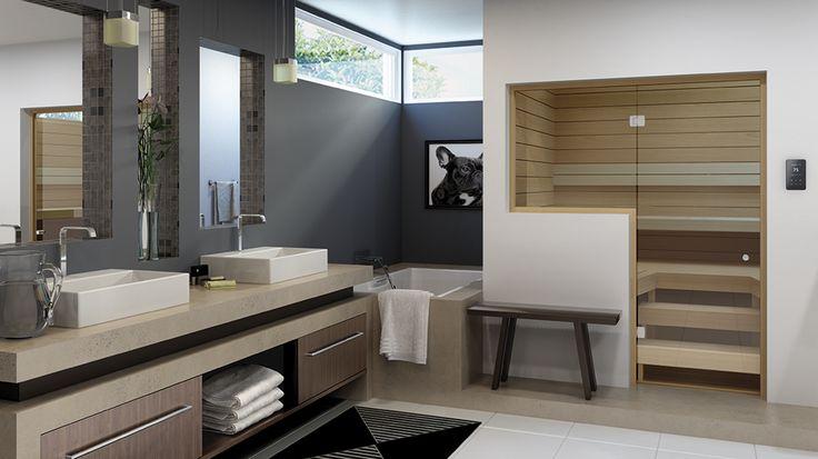 Integrera bastun med badrummet genom att använda glaspartier.