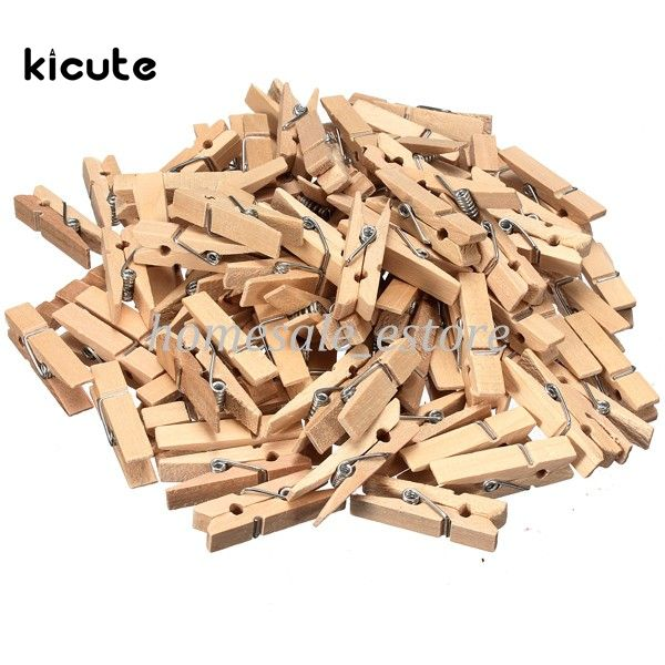 100Pcs/pack Hot Sale Mini Natural Wooden Clothes Photo Paper Peg Pin Clothespin Craft Clips School Office Stationery