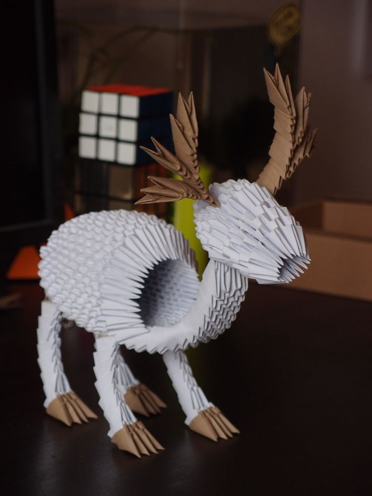 3D origami - Reindeer (801 pieces = 26x A4 paper)