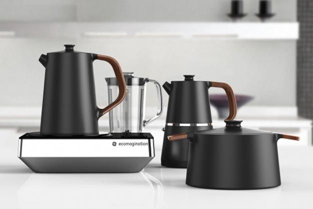 All-in-one kitchen appliance combines, kettle, cooker, coffee maker, blender and more.