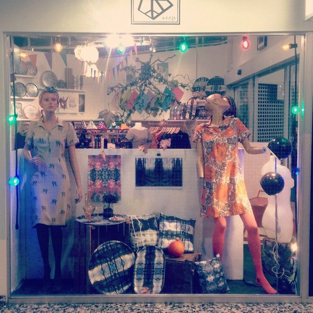 Autumn window display! Dresses are from Rino, stockings from sneaky foxx and the rest is from Ströva