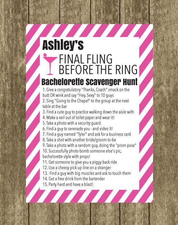 Bachelorette Scavenger Hunt Bride to Be Checklist by DesignandPop