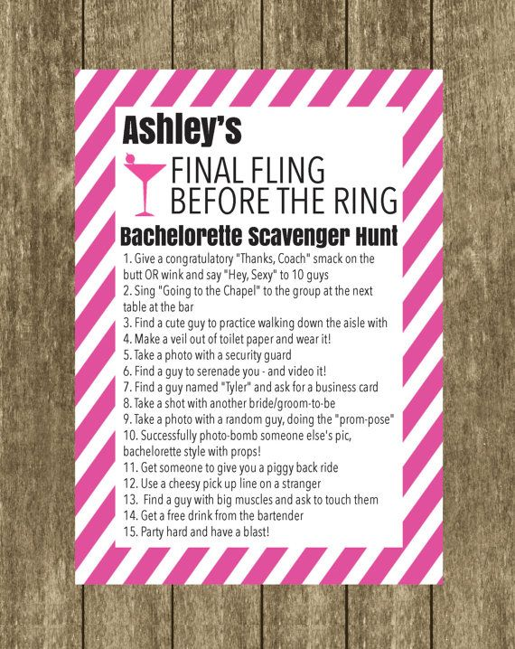 Bachelorette Scavenger Hunt Bride to Be Checklist by DesignandPop