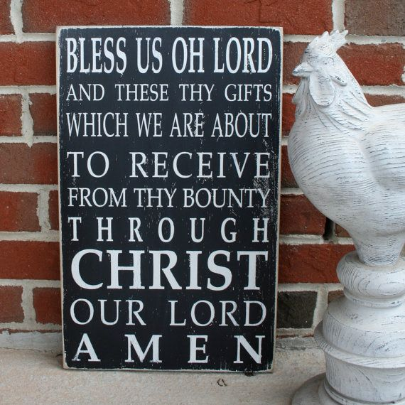 Mealtime Blessing Grace - Bless us Oh Lord Distressed Sign in Black with White Vintage Style