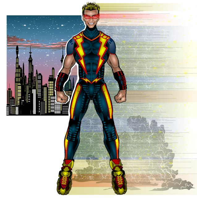 RUSH, the extreme speedster is an original character concept created and HeroMachine'd by me, Smitty309.