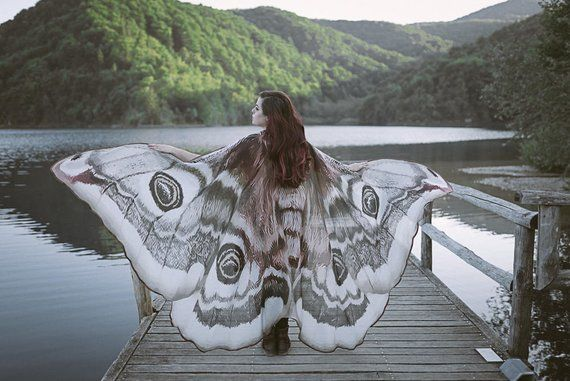 Moth Wings Costume Butterfly Cape Fairy Wings Festival Clothing Burning Man Moth Costume Moth Wings Wings Costume Moth