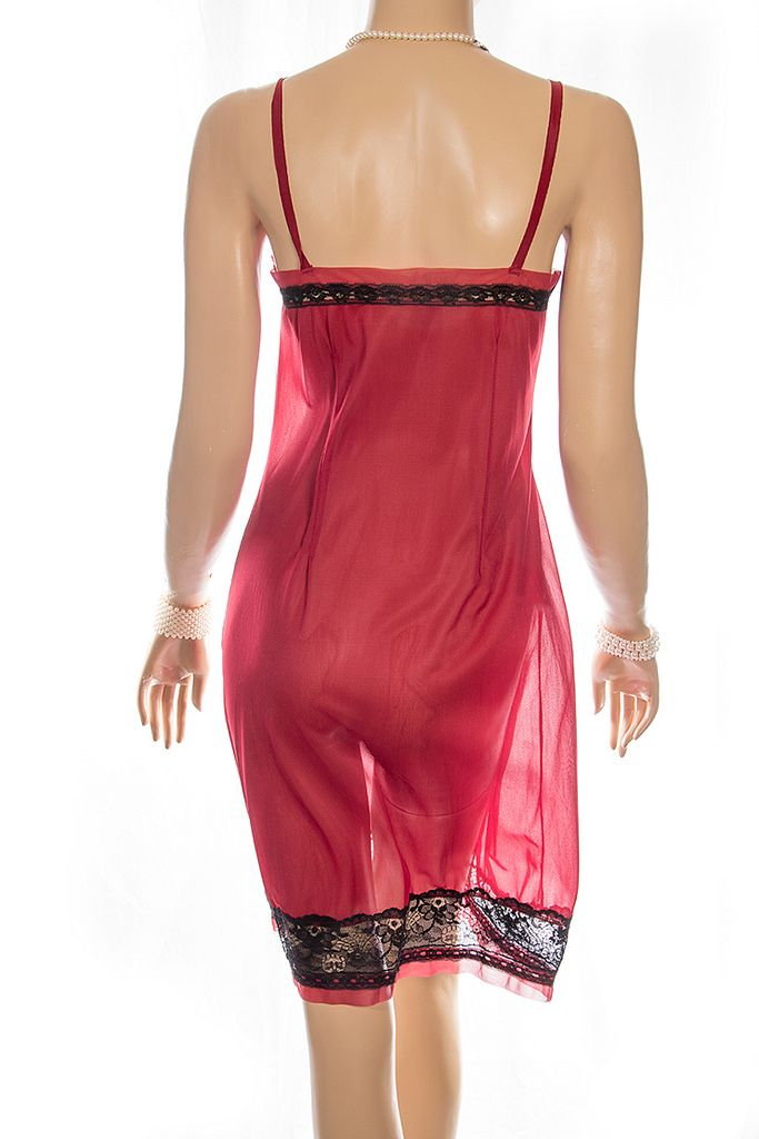 Delightful incredibly sheer silky soft crimson nylon and sexy black ... 285366d14