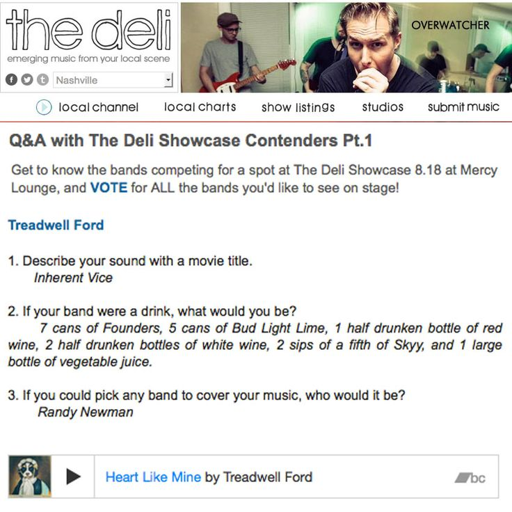 Get to know the bands competing for a spot on The Deli Nashville Showcase lineup at Mercy Lounge August 18, 2015. #TreadwellFord