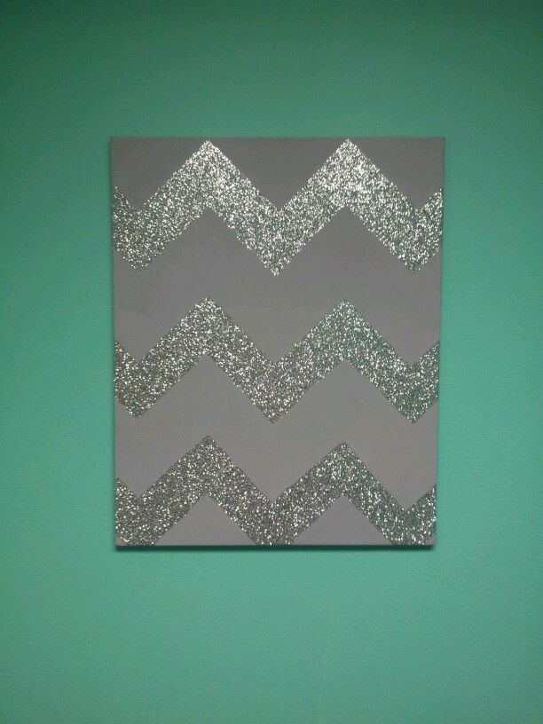 Glitter Chevron Painting for baby girls room someday. my daughter's room will be filled with chevron. this might be bad.