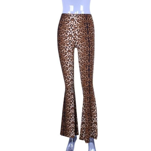 High Waist Leopard Print Flare Pants 2019 Women Bodycon Trousers Club Casual Full Length Pants Leopard L