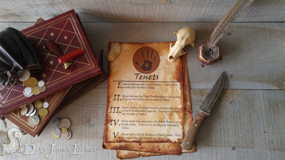 FREE SHIPPING - Five Tenets - Parchment paper - Skyrim - Dark Brotherhood