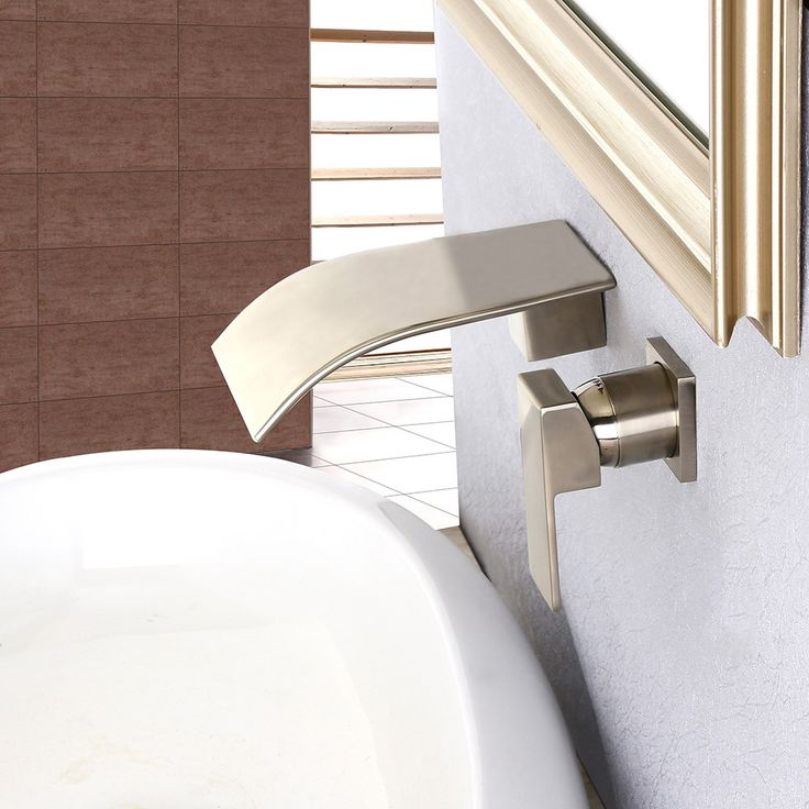 Milly Wall Mounted Waterfall Single Handle Bathroom Basin Mixer Tap in Brushed Nickel Solid Brass - Basin Taps - Taps