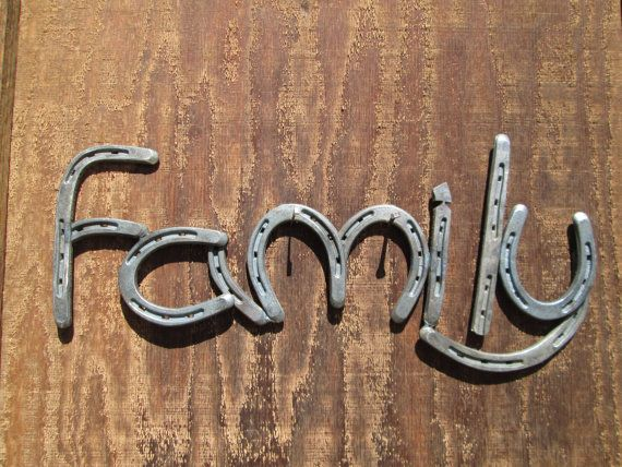 Horseshoe Family Sign, Rustic Country Western Home Decor  By Rustic and Country, $120.00 Handmade, Made in the USA Wouldn't this look great in your family room with the Faith, Love or Hope sign?