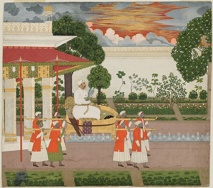 File:Chitarman II, Emperor Muhammad Shah with Falcon Viewing his Garden at Sunset from a Palanquin ca 1730 Metmuseum.jpg