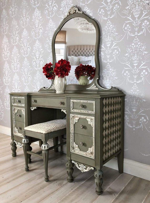 Painted Makeup Mirror Vintage Vanity Table With A French Country