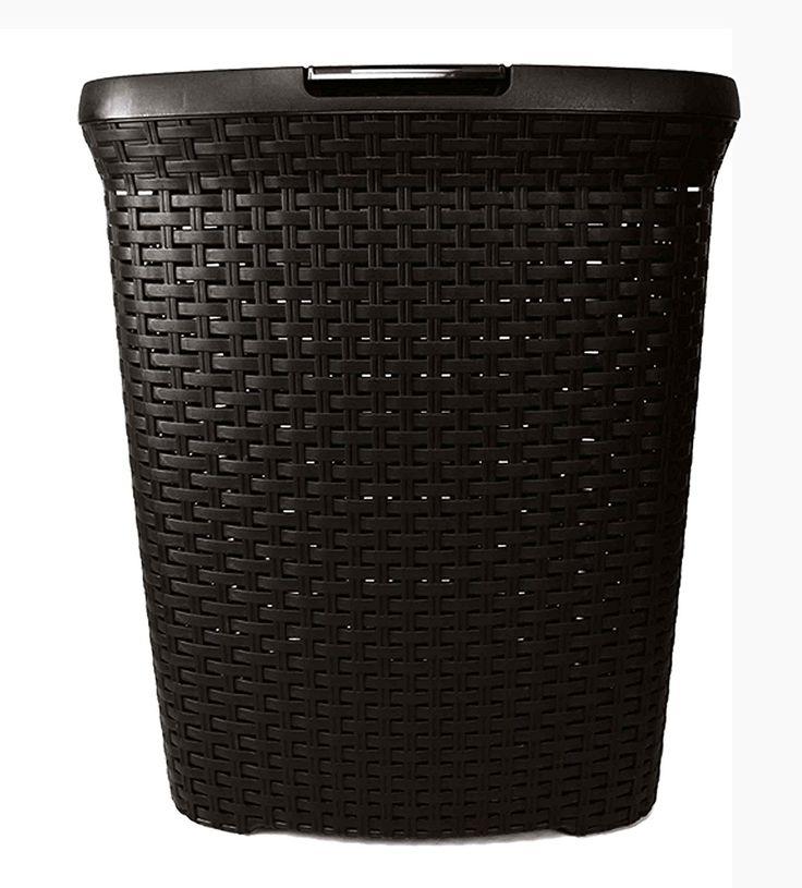 SCHÄFER Wäschekorb- Wäschebox - Wäschetruhe Rattan aus Kunststoff sales by JOLTA® (50 L Schwarz): Amazon.de: Küche & Haushalt