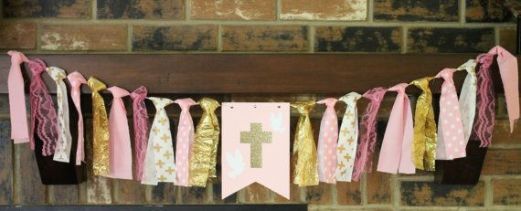 Baptism Banner, Cross Banner, Gold Cross Banner, Pink Cross Banner, Pink Gold Baptism Banner, Christening Decoration, Girl Baptism
