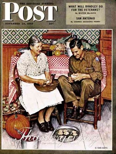 """""""A Thankful Mother""""   by Norman Rockwell    From November 24, 1945,  Saturday Evening Post"""