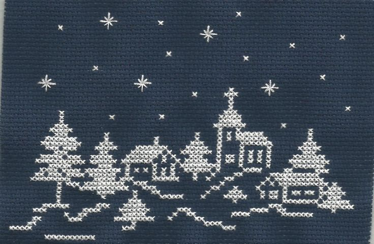 Christmas trees and a church cross stitch.
