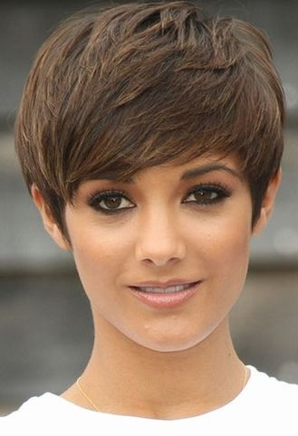 cute brown pixie, short hairstyle