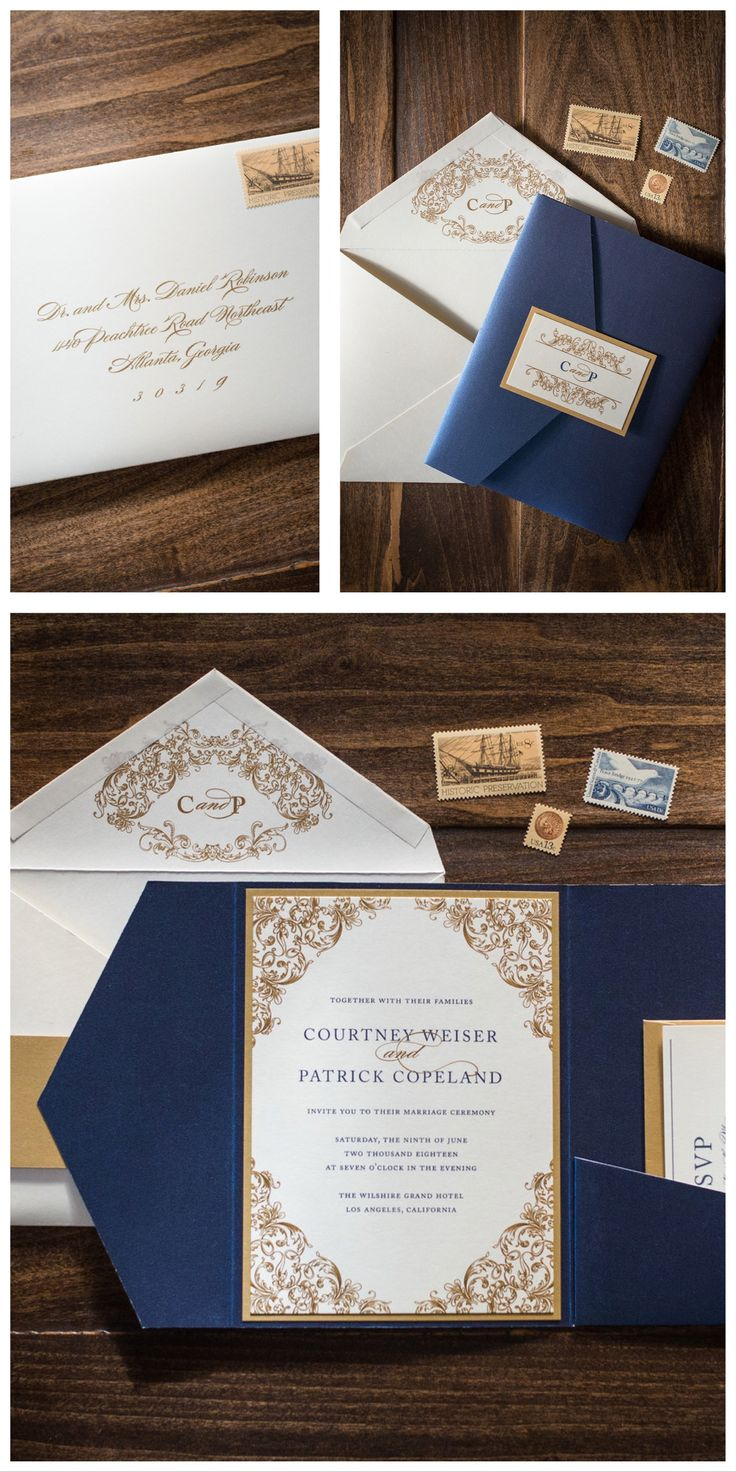 navy blue and kelly green wedding invitations%0A Navy and Gold Pocket Wedding Invitation by Penn  u     Paperie  Unique luxury wedding  invitation with