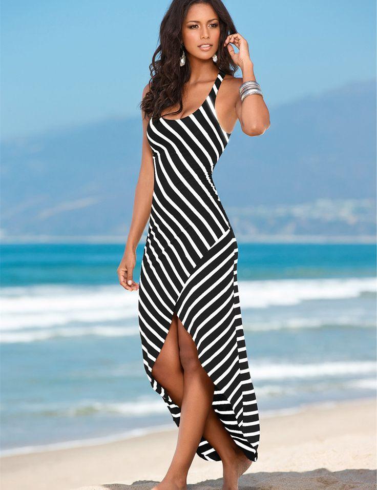 Women Black White Striped Boho Maxi Dresses 2016 Summer Style Sleeveless Beach Sexy Ladies Casual Long Dress Vestidos Plus Size