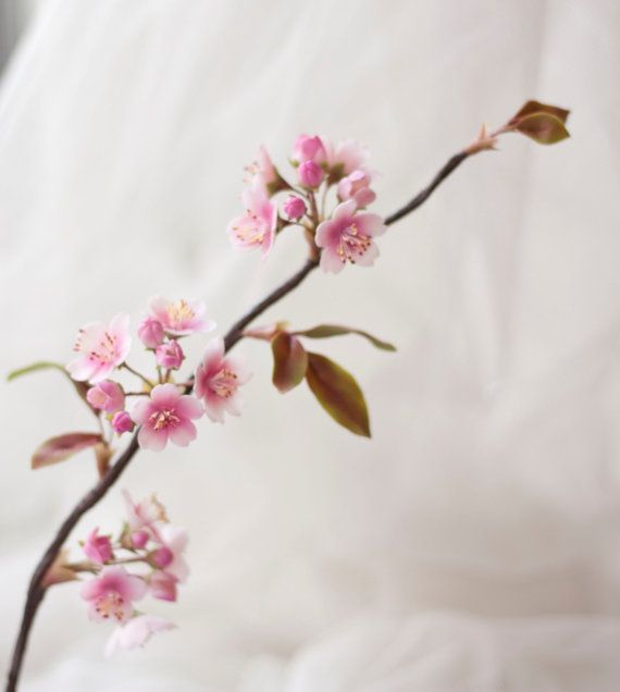 Sakura Branch Handcrafted Clay Cherry Blossoms Flowers