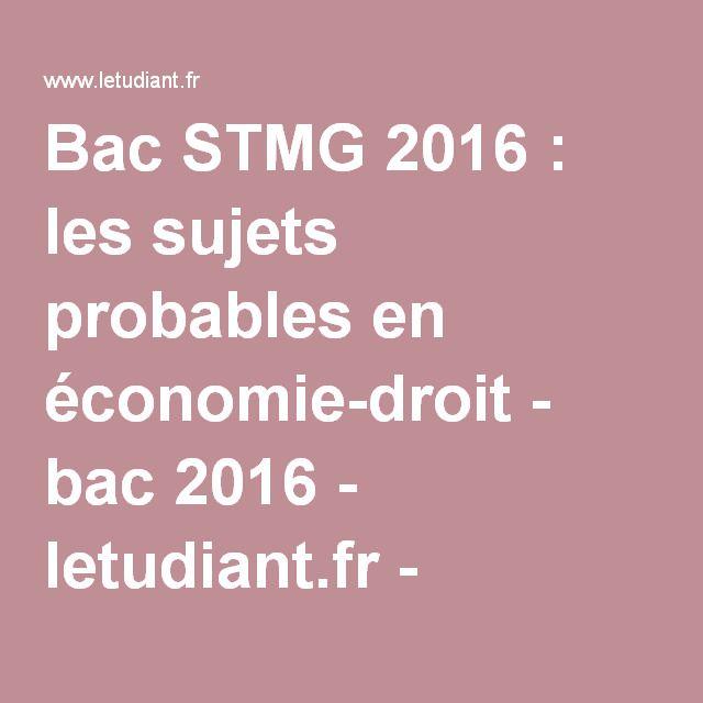 Bac STMG 2016 : les sujets probables en économie-droit - bac 2016 - letudiant.fr - L'Etudiant