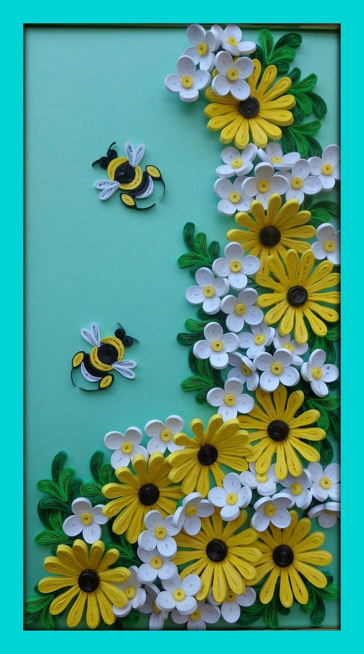 Quilled flowers and bees