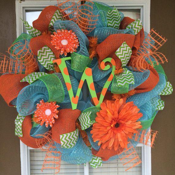 Turquoise and Orange Spring Initial Door Wreath