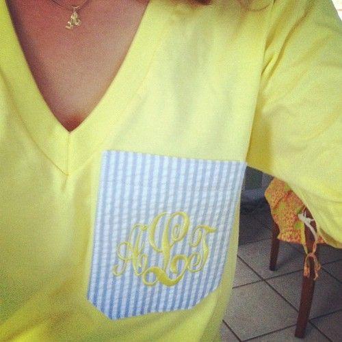 yellow, monogram, and seersucker