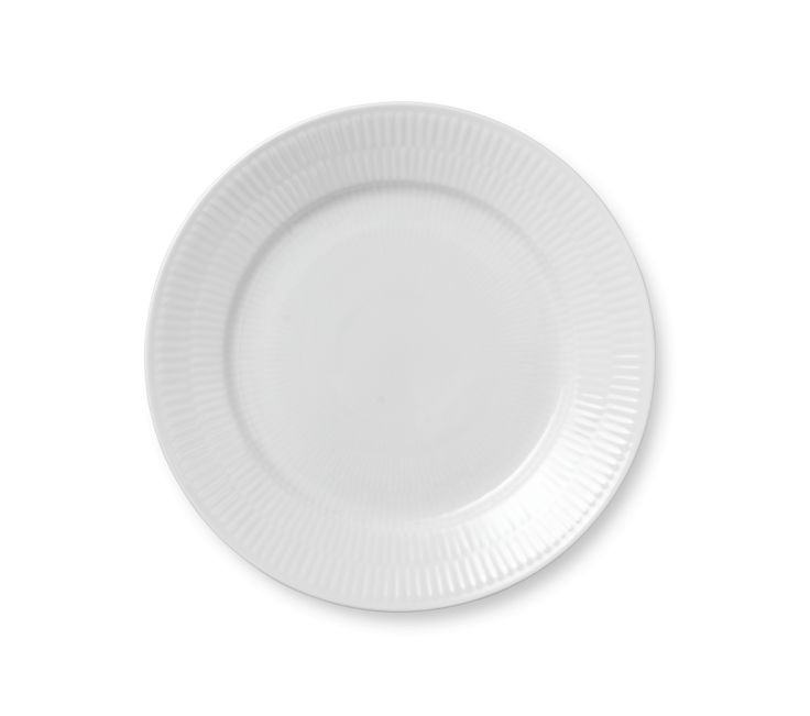 White Fluted Plate 22 cm