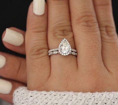 14k White Gold Pear 9x6mm Moissanite Forever Classic Engagement Ring, Diamond Milgrain Band, Moissanite and Diamond Bridal Ring Set